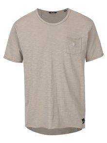 Khaki žíhané tričko s náprsní kapsou ONLY & SONS Antony