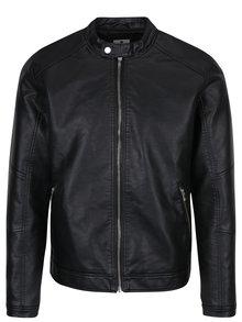Černá koženková bunda Jack & Jones Premium Colbin