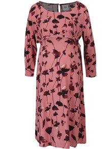 Staroružové kvetované tehotenské šaty s 3/4 rukávom Mama.licious Leaf