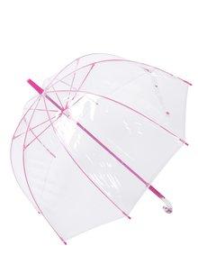Průhledný deštník s detaily v růžové barvě Lindy Lou Pinky Dome