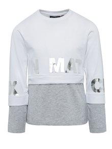 Sivo-biele dievčenské tričko s dlhým rukávom Mix´n Match