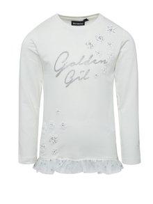 Krémové holčičí tričko s potiskem ve stříbrné barvě Mix´n Match