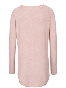 Starorůžový svetr s prodlouženým zadním dílem ONLY Mila