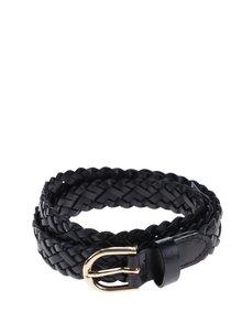 Černý kožený pletený pásek Pieces Avery