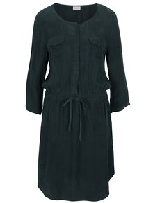 Tmavozelené košeľové šaty s 3/4 rukávom a zaväzovaním v páse VILA Cubra