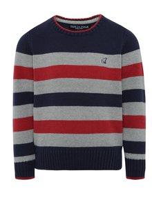 Sivo-modrý chlapčenský pruhovaný sveter North Pole Kids