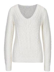 Krémový sveter s véčkovým výstrihom VILA Octana