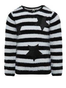 Krémovo-čierny dievčenský pruhovaný sveter s hviezdami North Pole Kids