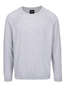 Světle šedý žíhaný svetr s kulatým výstřihem Burton Menswear London