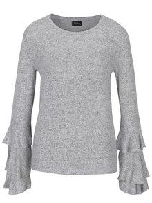 Svetlosivý melírovaný tenký sveter s volánmi VILA Mie