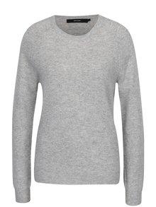 Světle šedý lehký vlněný svetr s příměsí kašmíru VERO MODA Douce