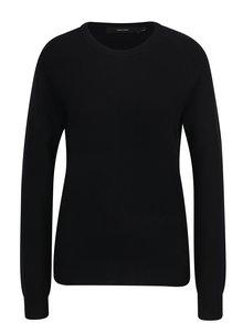 Čierny vlnený tenký sveter s prímesou kašmíru VERO MODA Douce