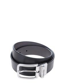 Šedo-černý pánský oboustranný kožený pásek Calvin Klein Mino