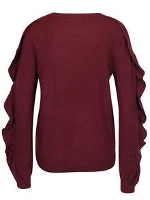 Vínový lehký svetr s volány na rukávech VERO MODA Sky