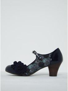 Modré vzorované lodičky s květinovou aplikací Ruby Shoo Freya