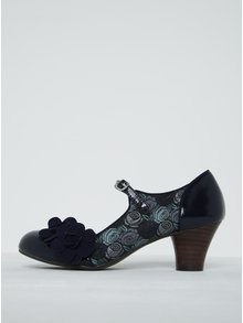 Pantofi albaștri cu baretă și toc gros - Ruby Shoo Freya