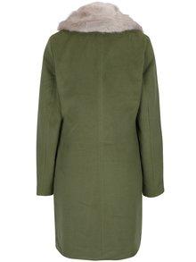 Khaki kabát s odnímatelnou umělou kožešinou VILA Coral