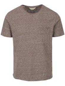 Hnědé žíhané tričko s kapsou Selected Homme Gravel