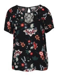 Bluză neagră cu imprimeu floral și dantelă - VILA Esto