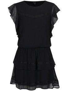 Čierne šaty s volánmi VERO MODA Aruba