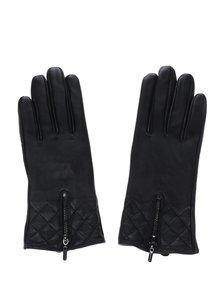 Černé kožené rukavice se zipem a prošívanými detaily VILA Litus