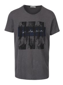 Tricou gri închis cu print abstract - Selected Homme Nash