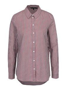 Krémovo-vínová pruhovaná košeľa s dlhým rukávom VERO MODA Eia