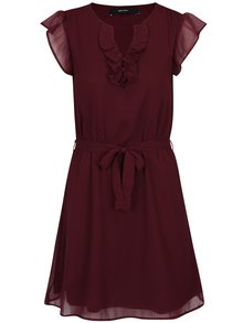 Vínové mini šaty s volány a páskem VERO MODA Lisa
