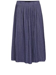 Tmavomodrá metalická plisovaná sukňa VERO MODA Sia