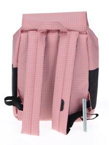Čierno-ružový kockovaný batoh Herschel Reid 21 l