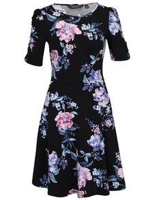Modro-černé květované šaty s krátkým rukávem Dorothy Perkins