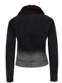 Jachetă neagră din denim cu guler din blană artificială ONLY Chris
