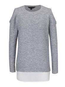 Sivý sveter s prestrihmi na ramenách a všitou blúzkou 2v1 Dorothy Perkins