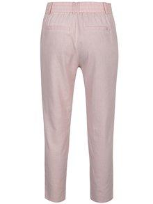 Pantaloni roz prăfuit cu croi drept și talie elastică ONLY Summer
