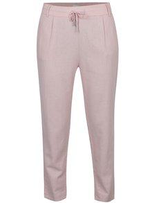 Světle růžové volné kalhoty s příměsí lnu ONLY Summer