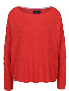 Červený volný svetr s plastickými detaily ONLY Liv