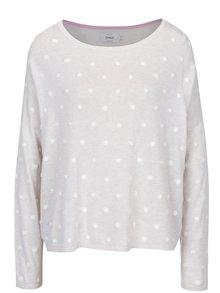 Krémový voľný sveter s plastickými detailmi ONLY Liv
