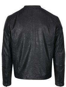 Jachetă biker neagră din piele naturală - Jack & Jones Cop
