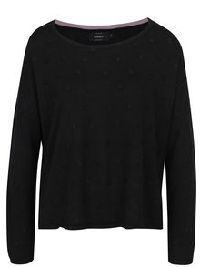 Čierny voľný sveter s plastickými detailmi ONLY Liv