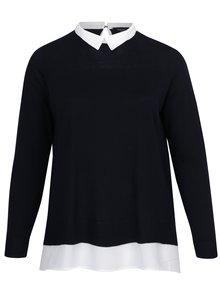 Tmavomodrý top so všitou košeľou 2v1 Dorothy Perkins Curve