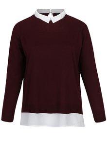 Vínový top so všitou košeľou 2v1 Dorothy Perkins Curve