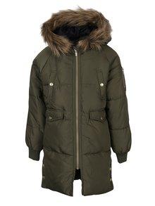 Kaki dievčenská prešívaná bunda s kapucňou name it Melias