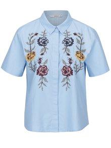 Modrá krátka košeľa s výšivkou kvetín ONLY Gala