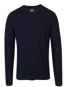 Tmavě modrý lehký svetr s véčkovým výstřihem Jack & Jones Luke
