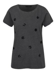 Tmavosivé tričko s flitrovanými detailmi ONLY Nikko