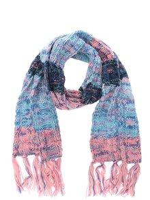 Mentolovo-ružový dievčenský pletený šál so strapcami name it Maritz