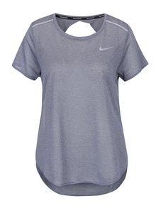 Sivomodré priesvitné funkčné dámske tričko s výstrihom na chrbte Nike