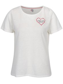 Tricou crem cu broderie frontala ONLY Evelyn
