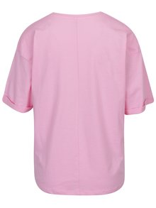 Tricou roz lejer cu broderie cu text ONLY Girl Boss