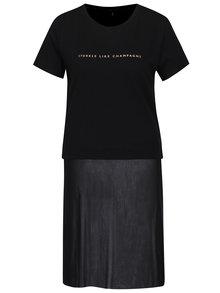 Černé tričko s potiskem a všitou průsvitnou částí ONLY Skyr